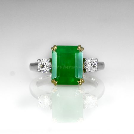 Colombian Emerald and Diamond Three Stone Ring GIA Certified