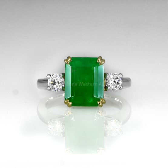 Colombian Emerald and Diamond Three Stone Ring GIA Certified - 1982455-5