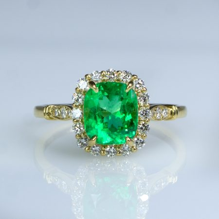 1.9ct Colombian Emerald Statement Ring Emerald Halo Ring in 18K Yellow Gold