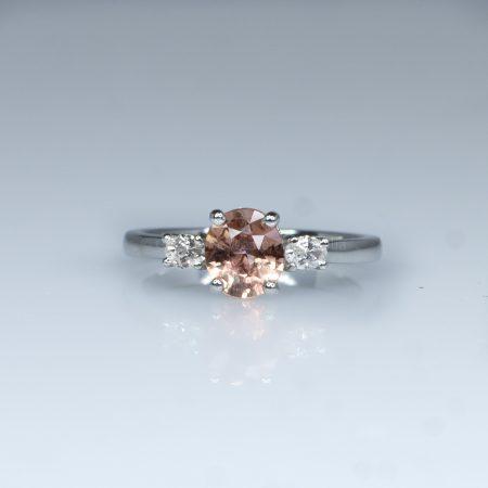 Natural Padparadscha and Diamonds Three Stone Ring in Platinum