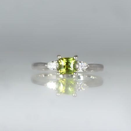 Rare Alexandrite and Diamond Three Stone Ring in 18K White Gold