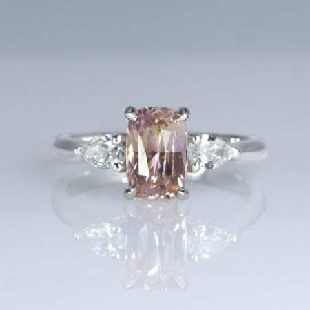 2.04 Carat Cushion Cut Padparadscha Sapphire and Diamond Ring in Pt950