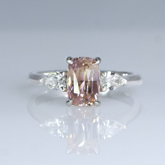 2.04 Carat Cushion Cut Padparadscha Sapphire and Diamond Ring in Pt950 - 1982458