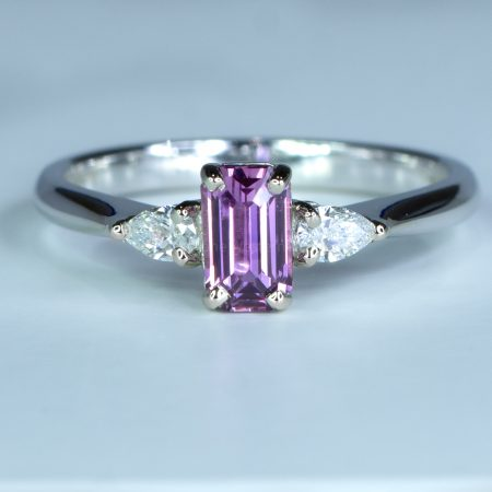 Unheated Pink Sapphire and Diamond Ring in White Gold