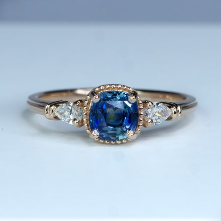 Unheated Teal Sapphire and Diamond Ring in Rose Gold