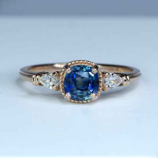 Unheated Teal Sapphire and Diamond Ring in Rose Gold - 1982460