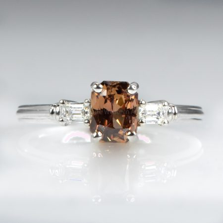 Natural Brown Sapphire and Diamonds Ring in White Gold