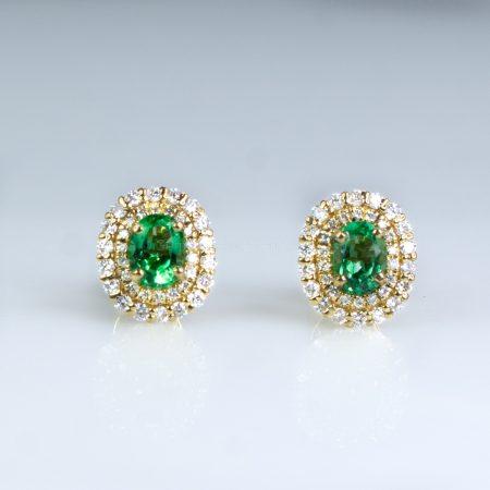 Colombian Emerald Diamond Halo Stud Earrings 18K Yellow Gold