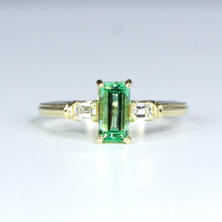 Emerald Cut Three Stone Ring Untreated Colombian Emerald and Diamonds Ring