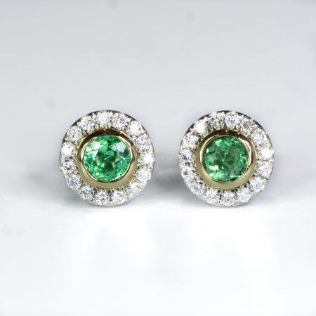Round Emerald and Diamond Stud Earrings Colombian Emerald Earrings