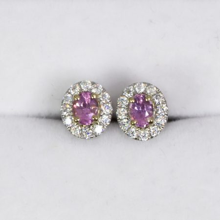 Natural Pink Sapphire Stud Earrings Oval Cut in 9K Gold